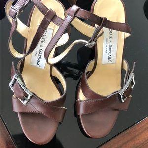 Dolce & Gabbana Vintage Wooden Heel Sandals SZ35